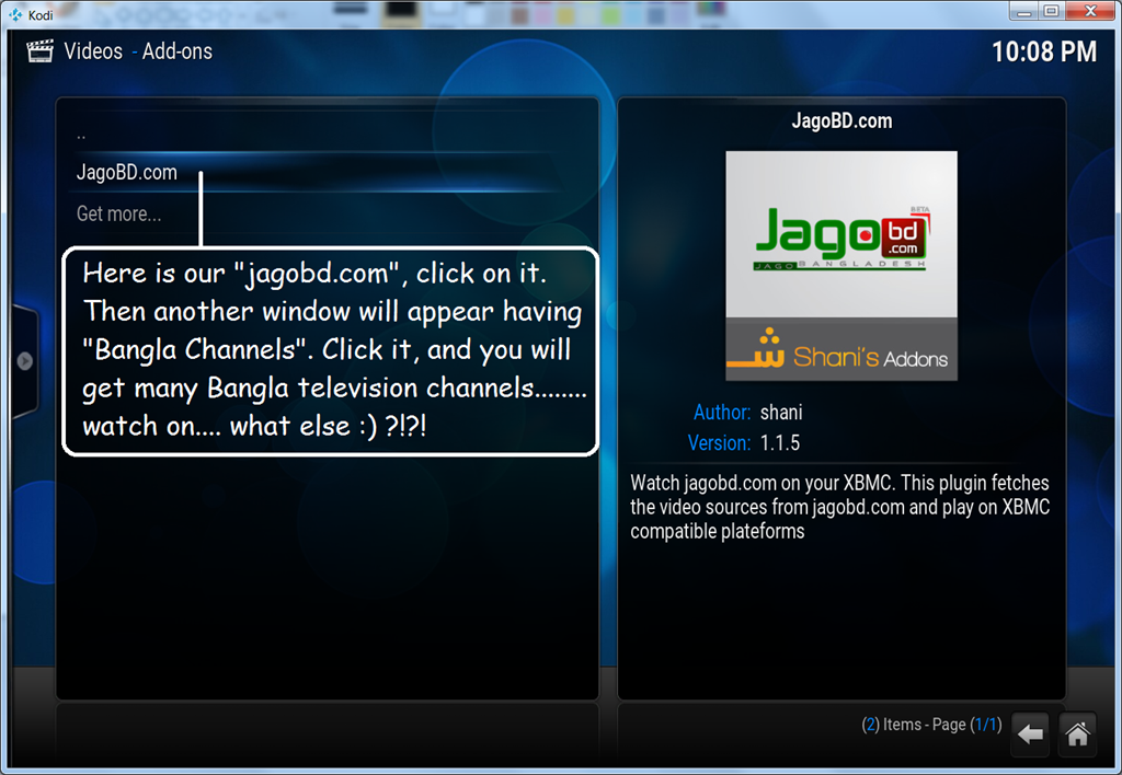Setup kodi to view Bangla channels by jagobd com, and